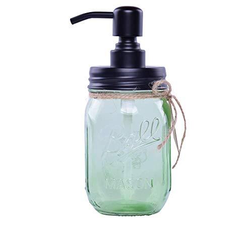 MARTHA&IVAN 480ml Einmachglas Seifenspender Klarglas Glas Nachfüllbar Lotionspender mit Rostfreiem Edelstahlpumpe (Grün)