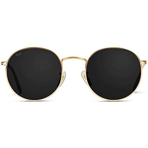 WearMe Pro - Reflective Lens Round Trendy Sunglasses ( Gold Frame / Black Lens, 51)