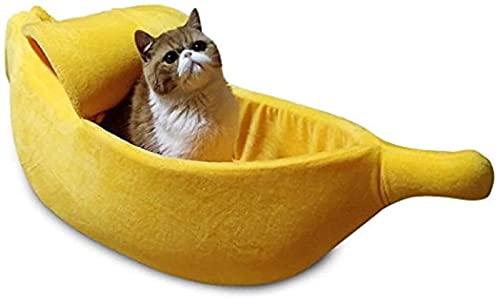 FHKBQ Linda casa para gatos, cama para mascotas suave para gatos, gatitos, conejos y perros pequeños, diseño de plátano (color: amarillo, tamaño: XL)