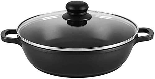 Olla para el hogar, Pote de Sopa Vaporera Wok Sartén con Tapa de Vidrio Capacidad Grande Se Adapta a Todas Las Placas de inducción 24 cm 28 cm 32 cm 36cm-24cm