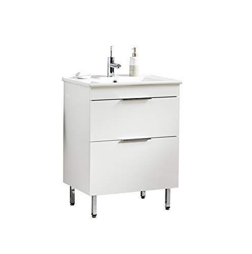 BadeDu Gäste WC Set Grazia/Waschbecken mit Unterschrank/Maße (B x H x T): ca. 65 x 67 x 43,5 cm/Waschtisch aus Keramik / 2 Schubladen/Set fürs Bad und WC/Becken: Weiß/Schrank: Weiß