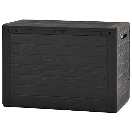 Tidyard Kompakte Kissenbox/Aufbewahrungsbox in Anthrazit mit 190 Liter Nutzvolumen. Robust, Abschließbar, abwaschbar und einfach im Aufbau