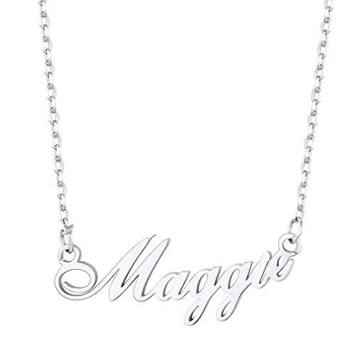 U7 Namenkette für Damen Mädchen personalisiert Schlüsselbein Kette mit Schreibschrift Name platiniert Halskette Schmuck einzigartiges Geschenk für Valentinstag Geburtstag