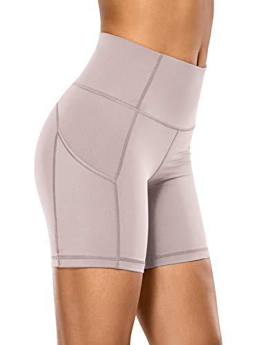 CRZ YOGA Mujer Pantalones Cortos Deportivos de Cintura Alta,Running Pantalones Cortos con Bolsillo Lateral-15.24cm Fase Lunar 42