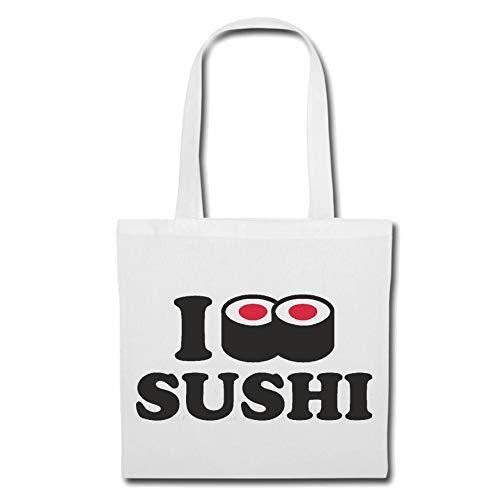 Tasche Umhängetasche I Love Sushi - Reis - ROHER Fisch - ALGEN - STÄBCHEN Einkaufstasche Schulbeutel Turnbeutel in Weiß