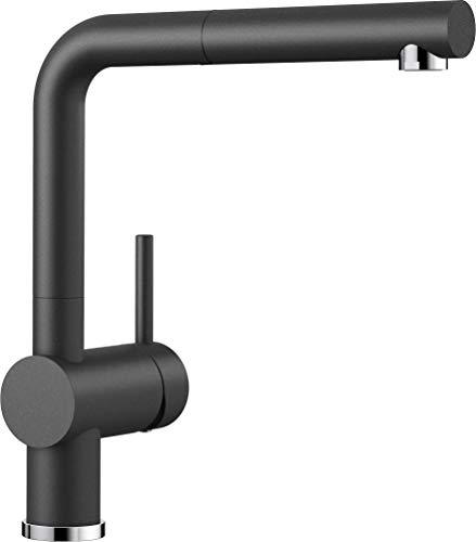 BLANCO LINUS-S – Küchenarmatur im SILGRANIT-Look mit herausziehbarem Auslauf – Hochdruck – Anthrazit-Grau – 516688
