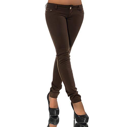 Damen Jeans Look Hose Röhre Leggings Leggins Treggings Skinny Jeggings G701, Farbe: Braun, Größe: 36 (S)