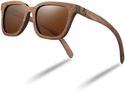 Walnut Wood Sunglasses Bamboo Wooden Polarized Sunglasses for Men Women with Engraved Wood Box product image