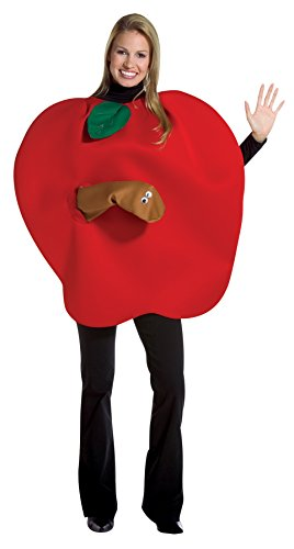 Apple with Worm Adult, Red, One Size Fits Most