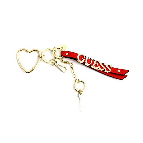 Guess sleutelhanger voor dames van rood leer met gouden stalen logo, karabijnsluiting en ring.