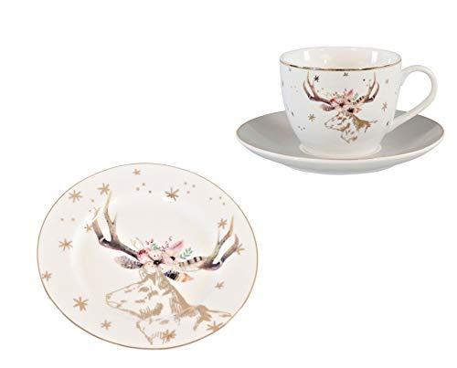 Van Well God Jul - Servicio de café con diseño de ciervo,