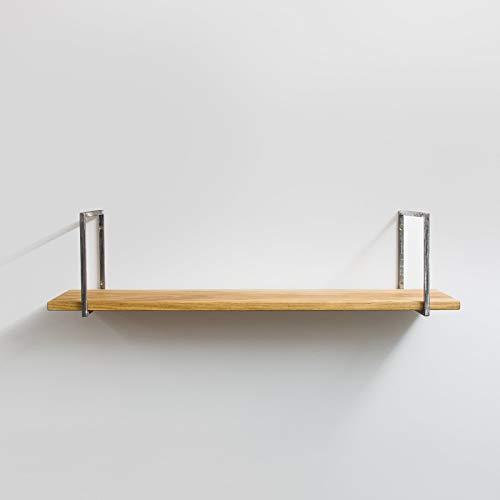 Anton Doll Holzmanufaktur Wandboard mit Stahlprofil aus Masivholz - 120 cm- Wandregal Schweberegal Hängeregal Hängeboards