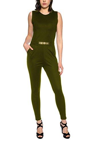 Crazy Age Eleganter Jumpsuit Overall S-XL (S, Oliv)