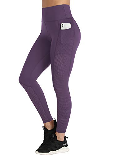 RAYPOSE Yoga Workout Pants Women Running Sport Leggings w Pockets High Waisted Mesh Tummy Control Girl Fitness Gym Exercise Leeging Athletic Petite Full Length Dark Purple-XS
