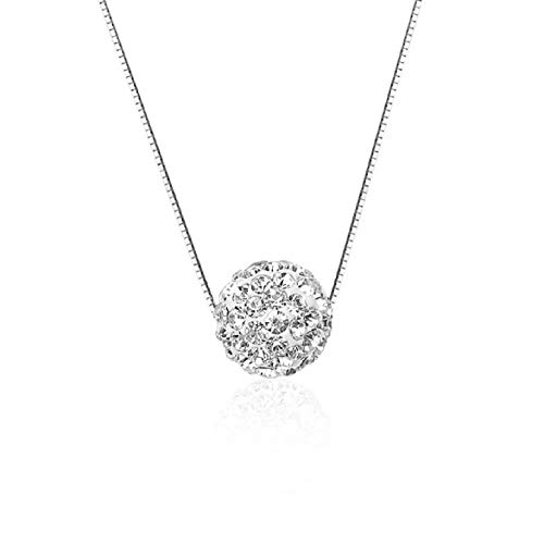Lzz Fashion Ladies 925 Sterling Silver Necklace Diamond Pendant Necklace Halo Solitaire Cubic Zirconia Full Diamond Crystal Ball Pendant Necklace