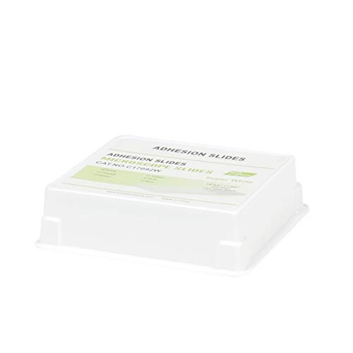 Jackson Global JAP092W Super White Cytology Adhesive Microscope Slides   Ground Edge   45° Safety Corner   25X75mm   White Frosted-(Pack of 72 PCS)
