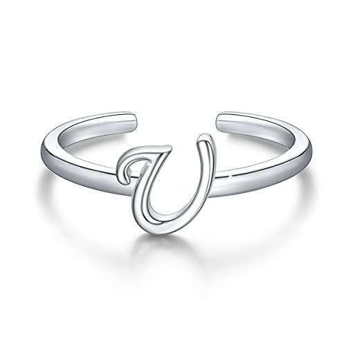Anillos de letras iniciales apilables de plata de ley 925, anillo de letra U del alfabeto en mayúscula, banda inicial ajustable para mujeres y niñas