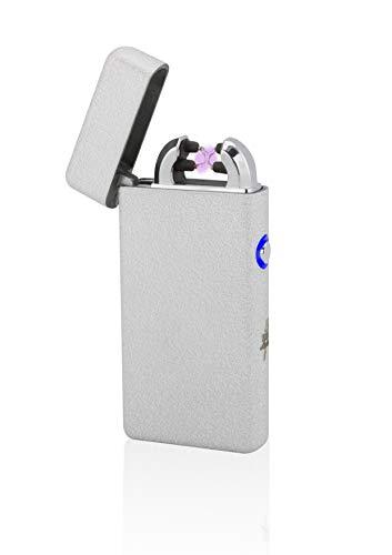 TESLA Lighter TESLA Lighter T08 Lichtbogen Feuerzeug Elektronisch, Plasma Double-Arc, wiederaufladbar per USB, ohne Gas und Benzin, mit Ladekabel, in edler Geschenkverpackung, Structured-Silber Structured-silber