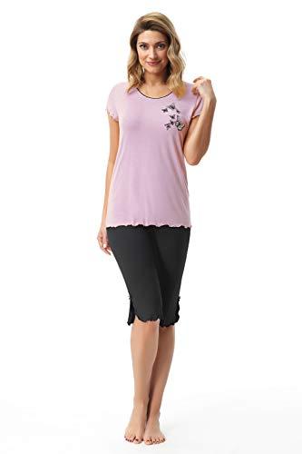 e.FEMME Pijama Nelly 420 de viscosa para mujer rosa claro 48