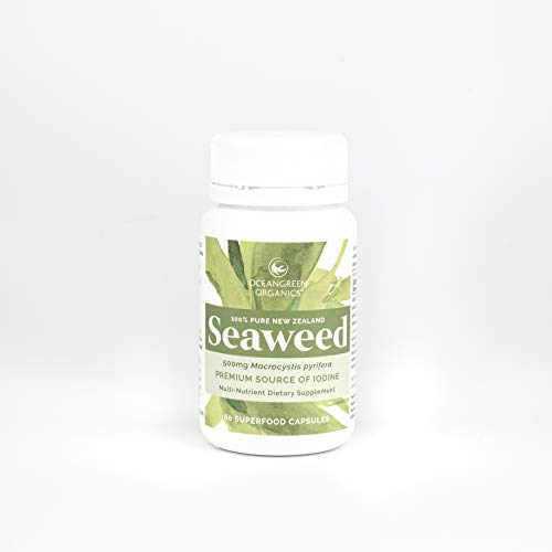 Seaweed Kelp Supplements | Oceangreen Organics New Zealand | Premium - 100% Pure Organic & Natural - Multi-Nutrient & Thyroid Support Supplement - Natural Source of Iodine | 60 Vegan Capsules
