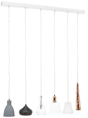 Kare Design Hängeleuchte Shades Dining 6er, grosse, moderne Pendelleuchte mit höhenverstellbaren Kabeln, Design Esszimmerlampen, grau-schwarz-weiß-kupfer (H/B/T) 138x110x16,5cm