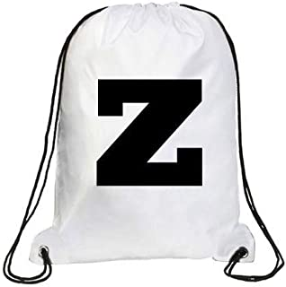 IMPRESS Drawstring Sports Backpack White with Rockwell Letter Z