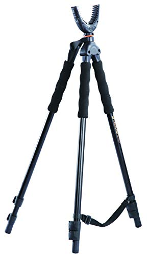 Vanguard Quest T62U Shooting Stick. Tripod, Bi Pod, Gun Pod All In One With Removable U Shaped Yoke, Quick Flip Leg Locks, Foam Hand Grips , Black