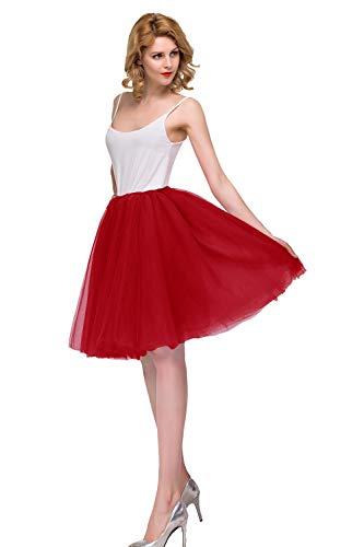 MisShow  Damen chic 50er Vintage Petticoat Party Dance Tutu Rock Karnval Rock Weinhachten Rock , Einheitsgröße, Rot