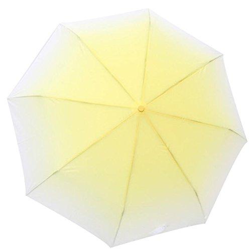 BUKUANG Creative Gradient 3 Folds Compact Anti-UV Parapluies De Pluie Dim,Yellow
