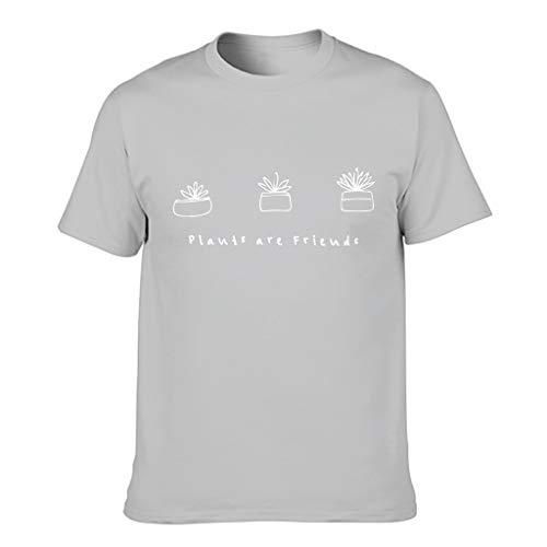 Camiseta de algodón para hombre con diseño de plantas y amigos Gris plateado. M