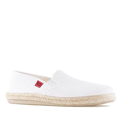 Andres Machado - Unisex Slipper für Damen und Herren – AM500 - für den Sommer – Hausschuhe – aus weißem Leinen mit Rutschfester Gummisohle – EU 45