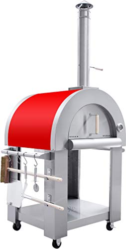 32.5' Outdoor Wood Fired Red Stainless Steel Artisan Pizza Oven or Grill with Waterproof Cover, Pizza Peel