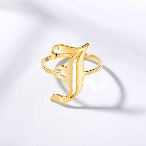 Zaaqio Open Rings For Women, Unisex Adjustable Stainless Steel Ring Old Initial Letter J Alphabet Golden Ring Jewelry Accessory For Anniversary Celebration Birthday Gift