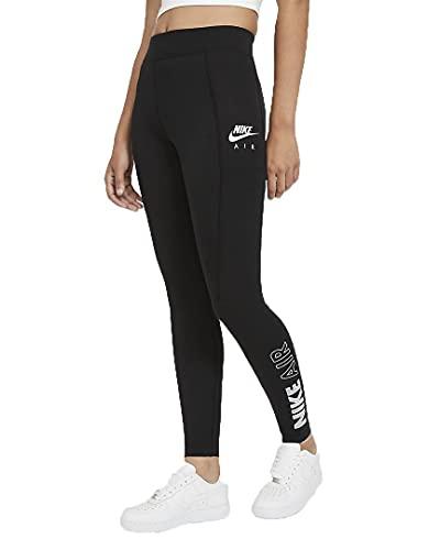 Nike W NSW Air LGGNG HR Leggings, Black/(White), XS Donna