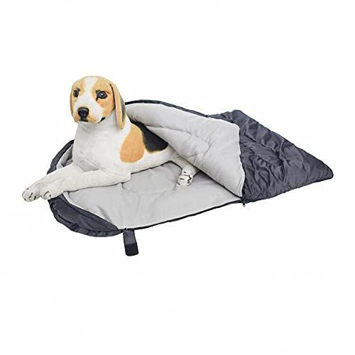 Saco de dormir para mascotas con bolsa de almacenamiento impermeable Viaje grande cama portátil para perro para interior al aire libre cálido camping senderismo mochila (gris 1)