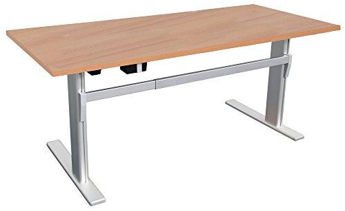 Dila GmbH Höhenverstellbarer Schreibtisch Buche Ergonomisch Elektrisch B 180 cm x T 80 cm Bürotisch (B 180 cm x T 80 cm, Buche)