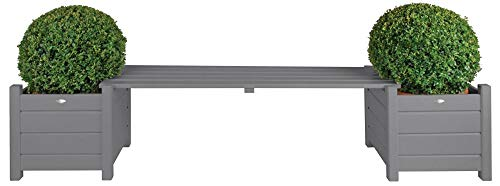 Esschert Design Pflanzkästen mit Bankbrücke, grau, 188x40x40.20 cm, CF33G