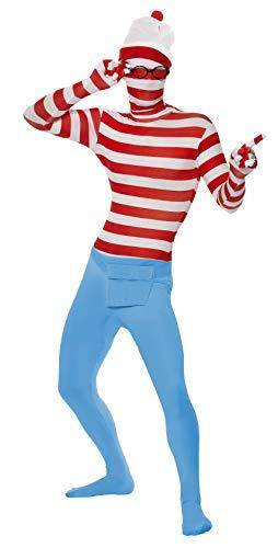 Smiffys Licenciado oficialmente Où est Charlie ? Costume seconde peau, Rouge et blanc, avec combinaison-pantalon