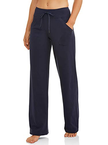 Athletic Works Women's Relaxed Fit Dri-More Core Cotton Blend Yoga Pants, Navy, XL Petite