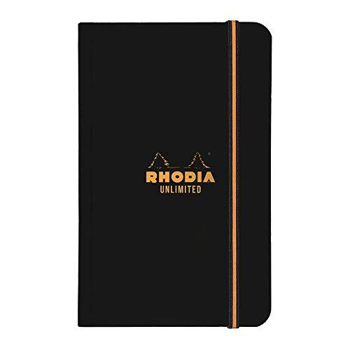 Rhodia 118858C Unlimited Notizbuch (mit Gummizug, 90 x 140 mm, mit zweifarbigem Gummizug, 60 Blatt, kariert) 1 Stück, schwarz
