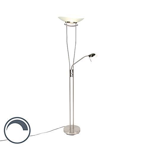 QAZQA - Moderne Stehleuchte | Stehlampe | Standleuchte | Lampe | Leuchte Stahl | Silber | nickel matt inkl. LED und Dimmer - Lexus Dimmer | Dimmbar | Wohnzimmer | Schlafzimmer | Deckenfluter - Stahl L