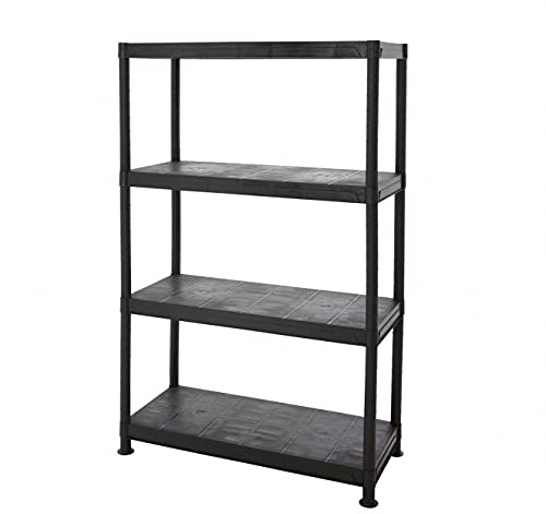 BiGDUG Black Plastic Garage Shelving 4 Tier Storage Unit Garden Shed Shelves 50kg