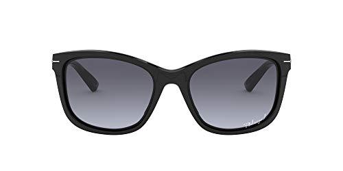Oakley Women's OO9232 Drop Rectangular Sunglasses, Polished Black/Grey Gradient Polarized, 58 mm
