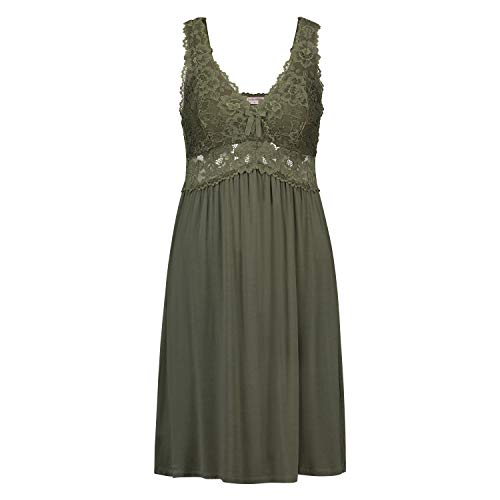 HUNKEMÖLLER Damen Nachtwäsche Slip-Dress Modal Lace grün XS