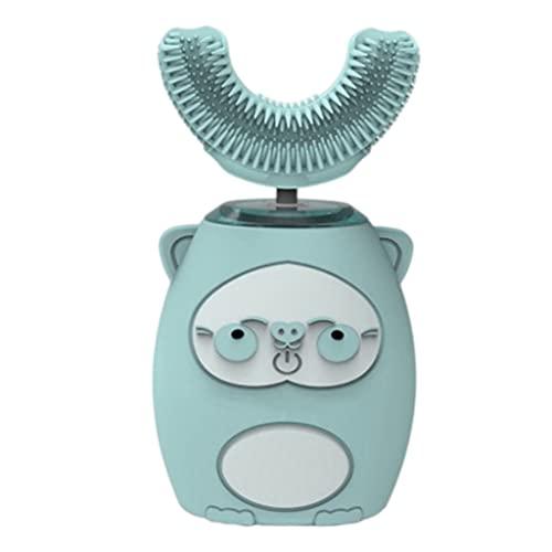 F Fityle Cepillo de dientes eléctrico en forma de U para niños, Cepillo de dientes ultrasónico Cepillo de dientes de modelado de dibujos animados tipo U, Modo - Azul 2 a 7 años
