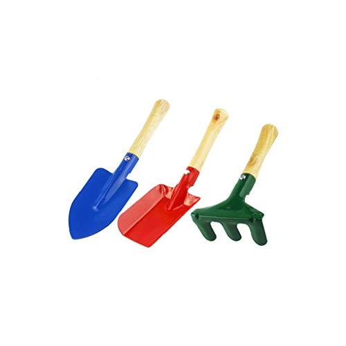 TOPofly Pintado de Color Diferente Rake Mini Metal Pala Paleta Set de Herramientas de jardín Set Beach Kids recinto de Seguridad del Juguete 3 Piezas