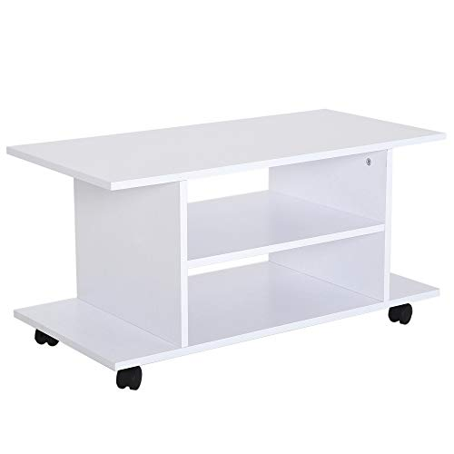HOMCOM Fernsehtisch TV-Rack TV-Bank Lowboard rollbar vielseitig Mehrzweck Wohnzimmer Schlafzimmer Spanlatte in Weiß 80 x 40 x 40 cm