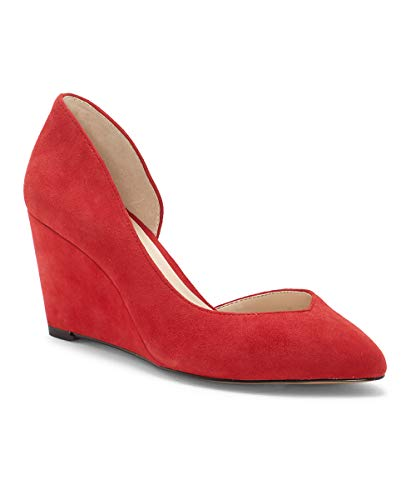 1. State Melman Fire Red Wedge Low Heel D'Orsay Pointed Toe Low Cut Dress Pumps (9.5, Red)