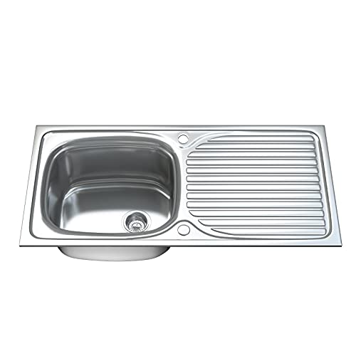 Dihl 1.0 Single Bowl Stainless Steel Kitchen Sink with Drainer & Waste 1003
