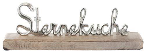 Brandsseller Deko-Schriftzug Sterneküche ca. 30,5 cm auf Mangoholz-Sockel Silber/Braun